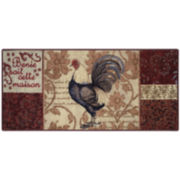 Rooster Damask Kitchen Rectangular Rug