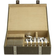 Reed & Barton Brown Woven Flatware Storage Chest
