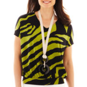 Worthington® Short-Sleeve Necklace Top