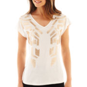 Worthington® Short-Sleeve Sequin Top