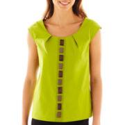 Worthington® Cap-Sleeve Beaded Shirt - Petite