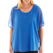 By Artisan Short-Sleeve Chiffon Pocket Tee - Plus