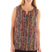 Liz Claiborne Sleeveless Button-Front Blouse with Cami - Plus