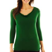 Worthington® 3/4-Sleeve Drape-Neck Sweater