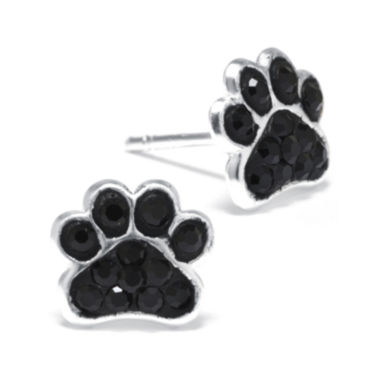 jcpenney.com | Black Crystal Sterling Silver Paw Print Earrings