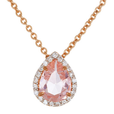 jcpenney.com | Sparkle Allure™ Pink and White Cubic Zirconia Teardrop Pendant Necklace