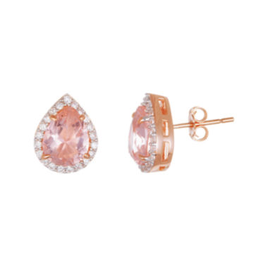 jcpenney.com | Sparkle Allure™ PInk and White Cubic Zirconia Teardrop Earrings