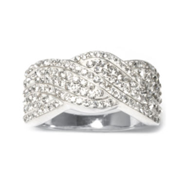 jcpenney.com | Crystal Silver-Plated Wave Ring