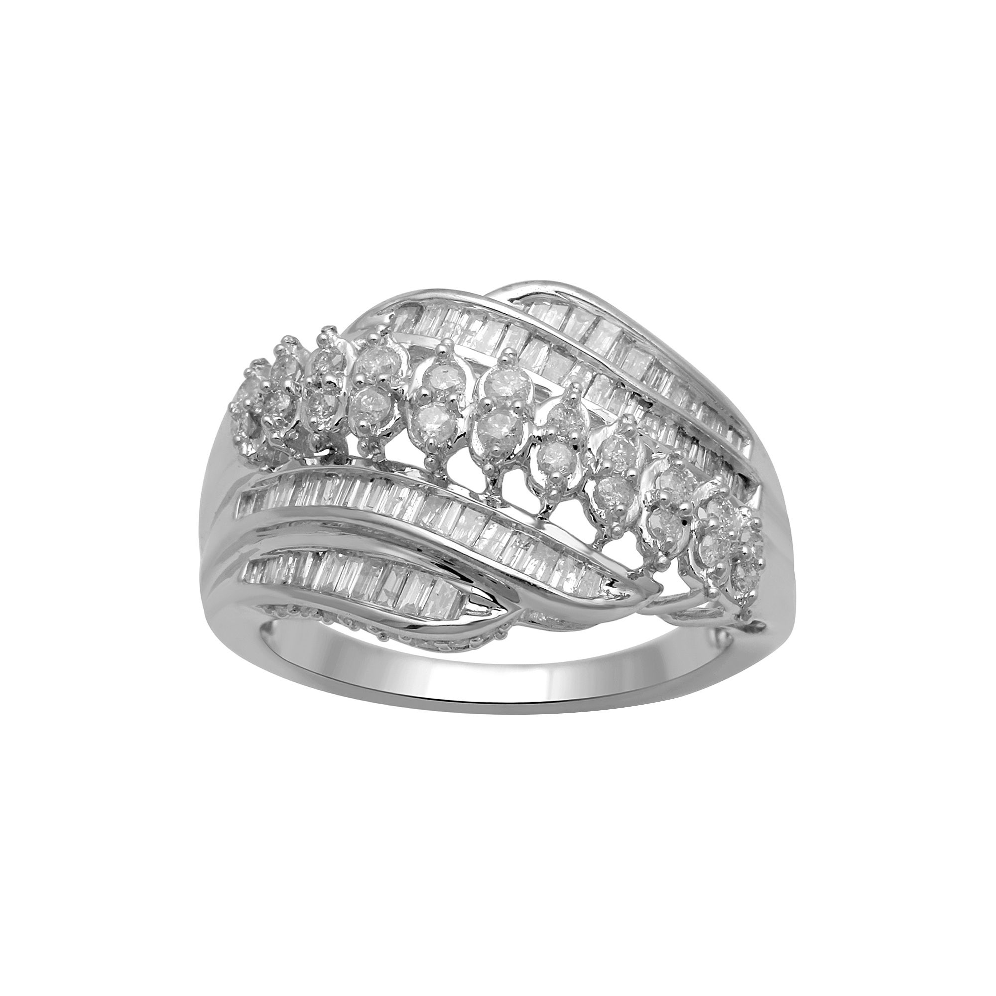 1 CT. T.W. Diamond 10K White Gold Cocktail Ring