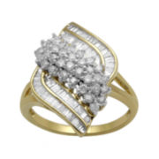 1 CT. T.W. Diamond 10K Yellow Gold Cluster Waterfall Ring
