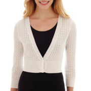 Worthington® 3/4-Sleeve Two-Button Pointelle Cardigan