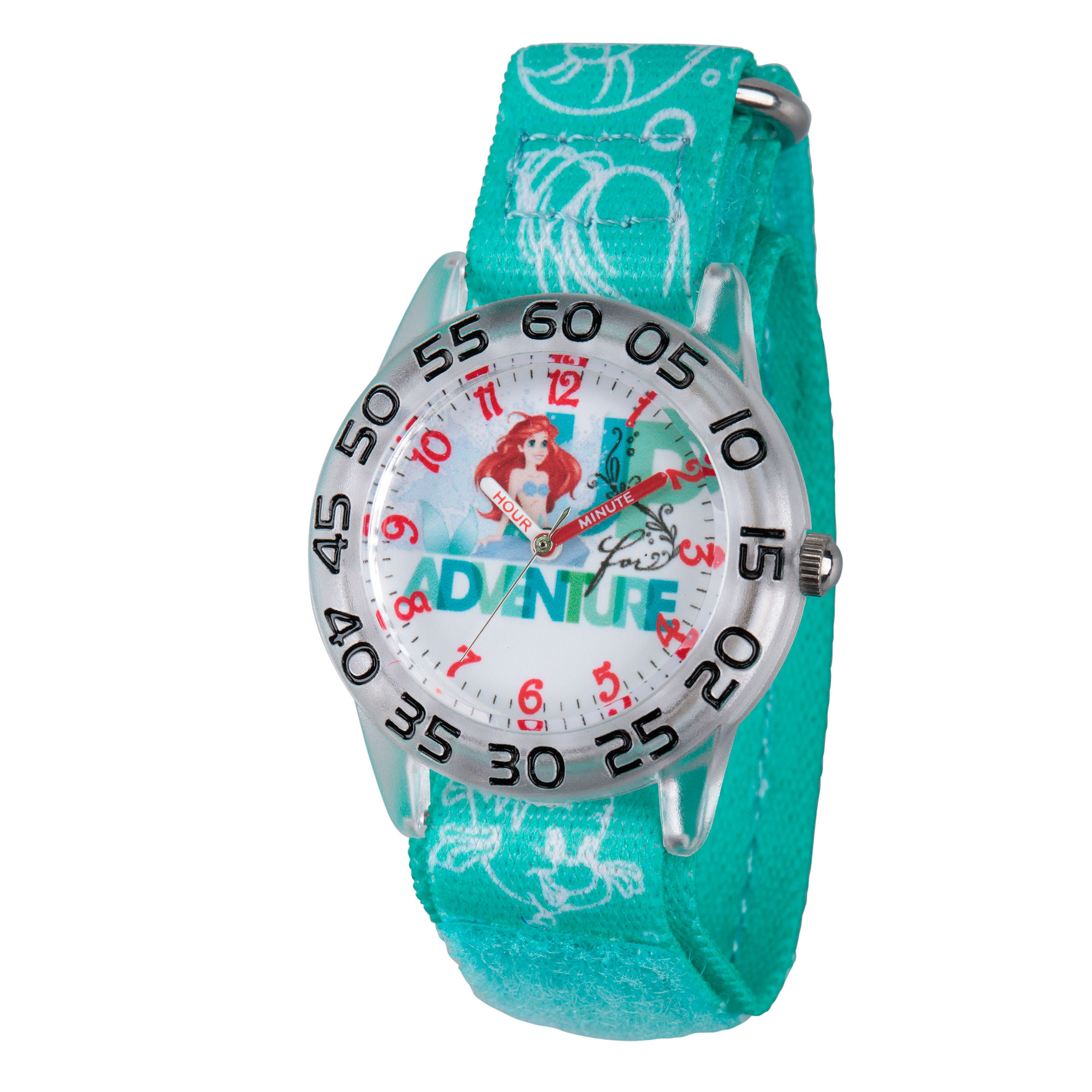 Disney Girls Green and Silver Tone Ariel Adventure Time Teacher Strap Watch W002902