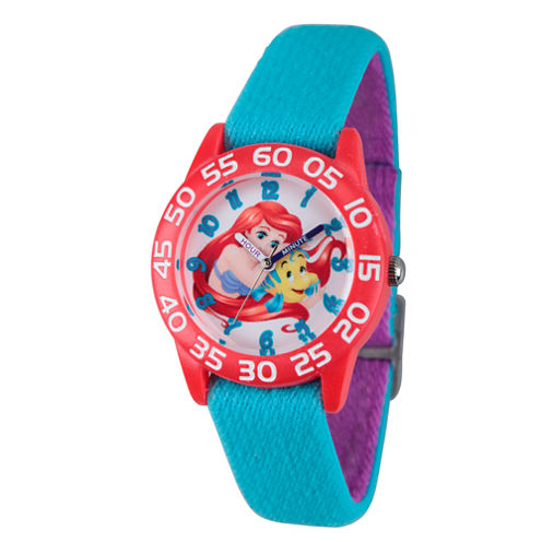 Disney Girls Blue and Red Ariel and Flounder Time Teacher Strap Watch W002907