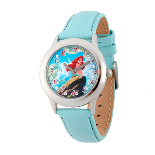 Disney Princess Girls Blue and Silver Tone Ariel Glitz Time Teacher Strap Watch W002916