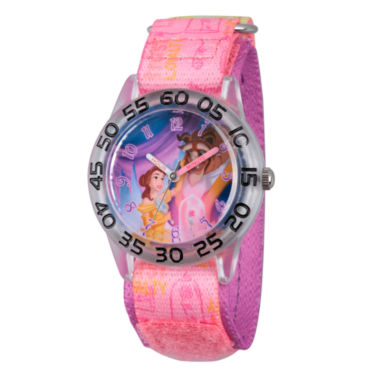 jcpenney.com | Disney Princess Girls Pink and Silver Tone Beauty and The Beast Time Teacher Strap Watch W002928