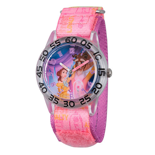 Disney Princess Girls Pink and Silver Tone Beauty and The Beast Time Teacher Strap Watch W002928