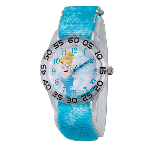 Disney Princess Girls Blue and Silver Tone Cinderella Time Teacher Strap Watch W002934
