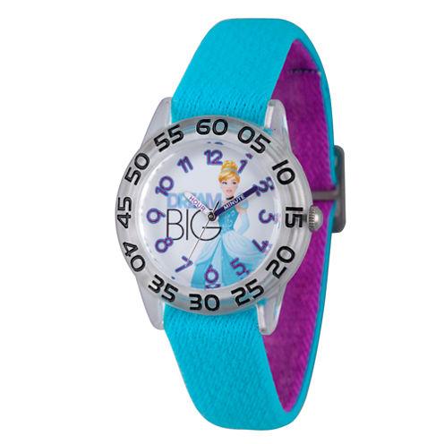 Disney Princess Girls Blue Cinderella Time Teacher Strap Watch W002938