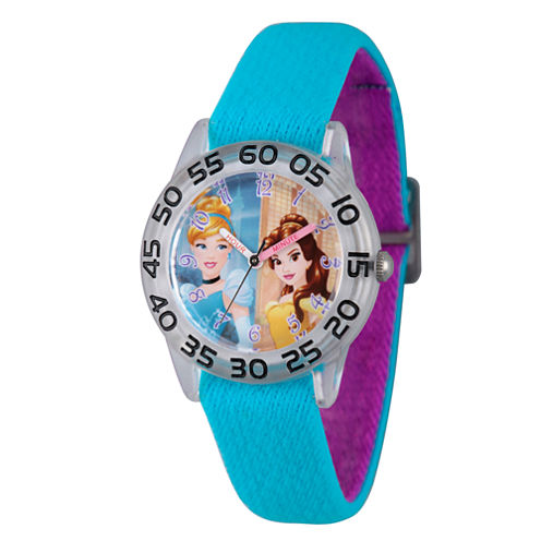 Disney Princess Girls Blue and Silver Tone Cinderella and Belle Time Teacher Strap Watch W002946