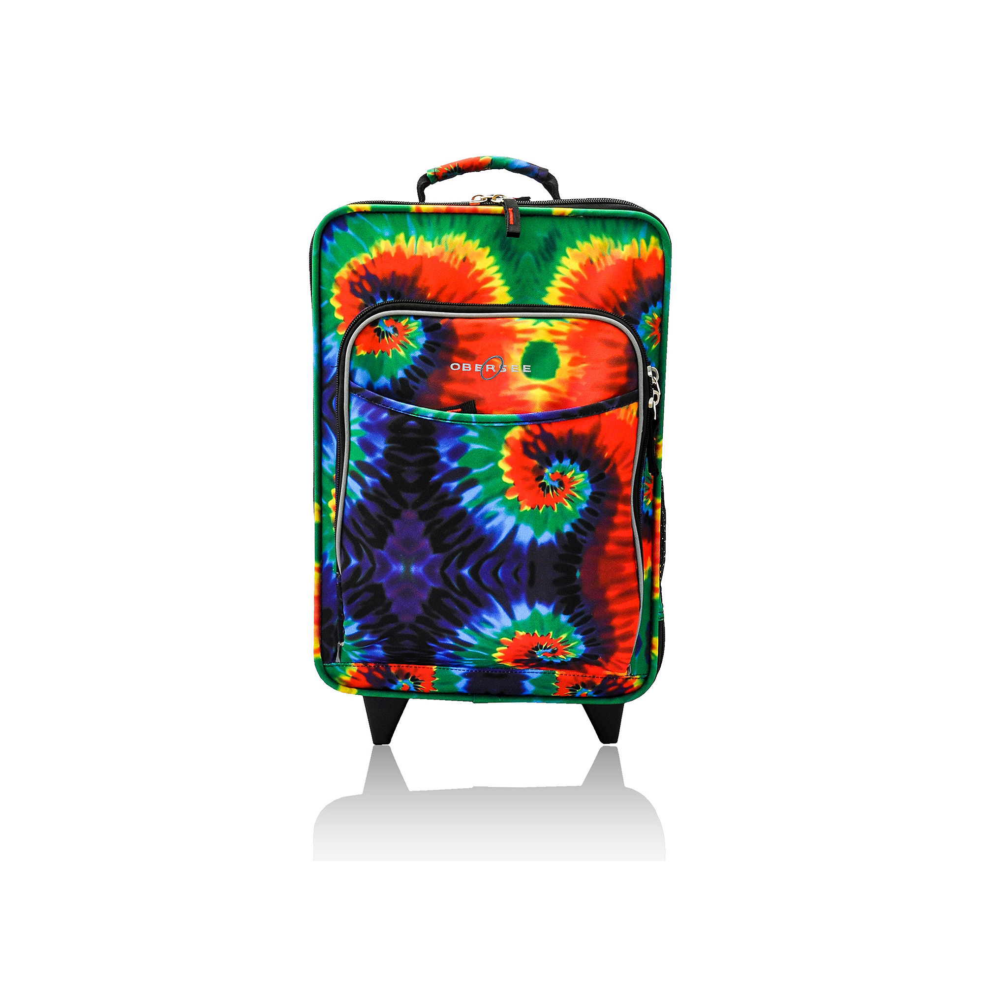 Obersee Kids Tie-Dye Upright Roller Luggage with Integrated Cooler
