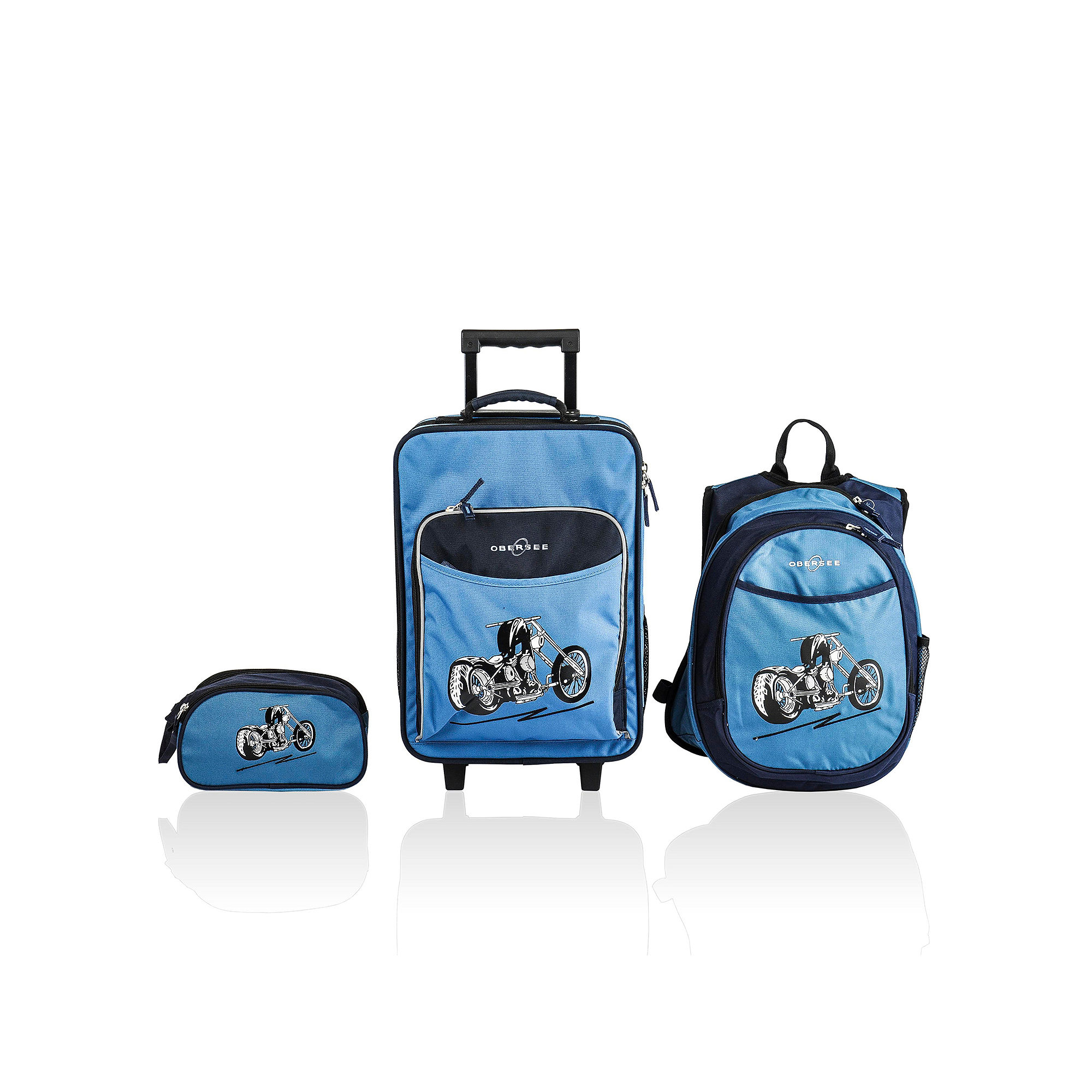 Obersee Little Kids 3-pc. Motorcycle Luggage,  Backpack & Toiletry Bag Set