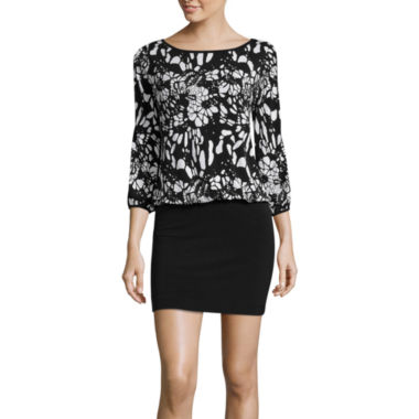 jcpenney.com | nicole by Nicole Miller® Long-Sleeve Printed Cold-Shoulder Blouson Dress
