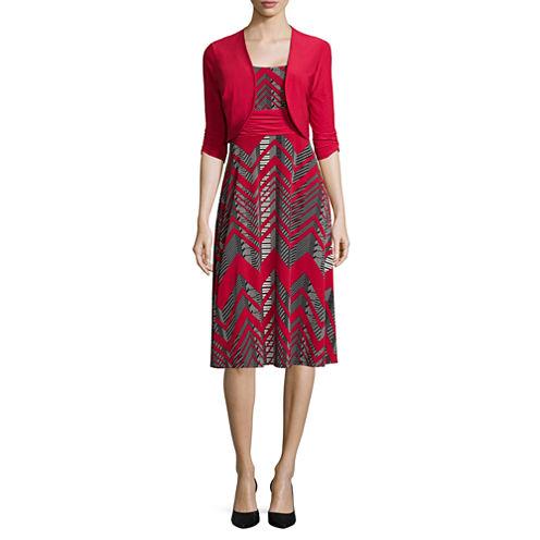 Perceptions Elbow-Sleeve Chevron Bolero Print Jacket Dress