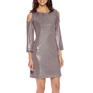 jcpenney.com | Scarlett 3/4-Sleeve Metallic Knit Cold-Shoulder Sheath Dress