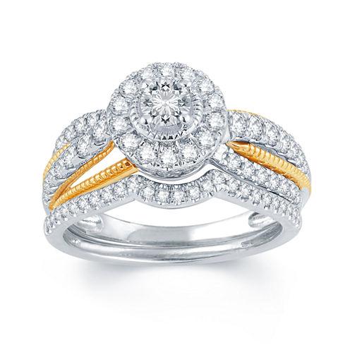 1 CT. T.W. Diamond 14K White, Rose & Yellow Gold Engagement Ring