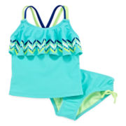 Breaking Waves 2-pc. Chevron Tie-Dyed Tankini - Preschool Girls 4-6x