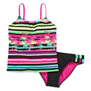 Breaking Waves 2-pc. Island Stripe Tankini - Girls 7-16