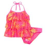 Breaking Waves 2-pc. Tie-Dyed Crochet Tankini - Girls 7-16
