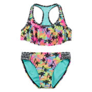 Breaking Waves Pastel Palms Two-Piece Flounce Bikini - Girls 4-16