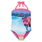 Breaking Waves Jungle Cats Photo One-Piece Bandeau - Girls 4-16