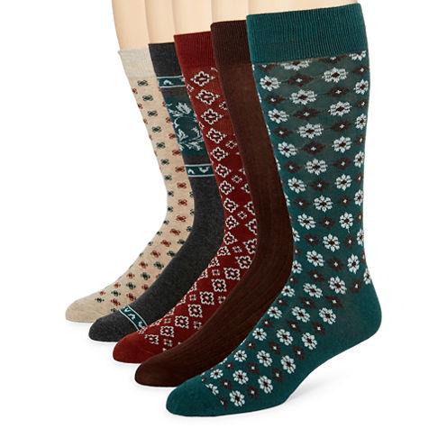Stafford® 5-pk. Floral Geo Crew Socks