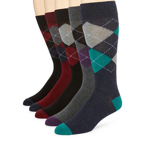 Stafford® 5-pk. Marled Argyle Crew Socks