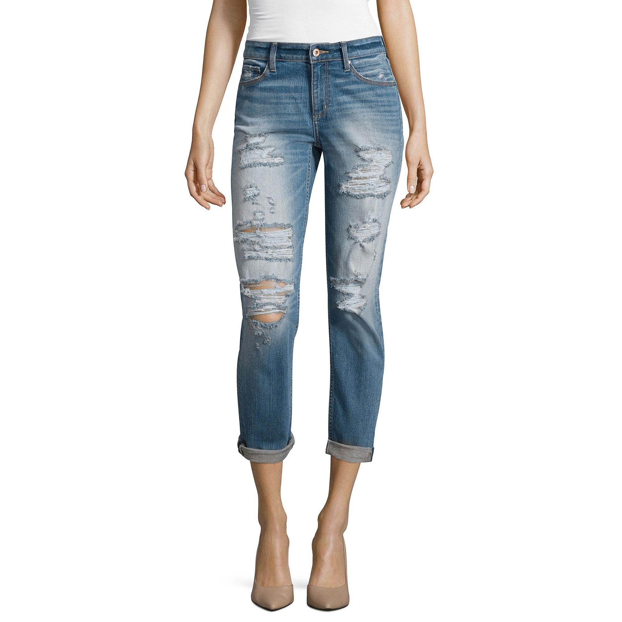Arizona Destructed Boyfriend Jeans - Juniors plus size,  plus size fashion plus size appare