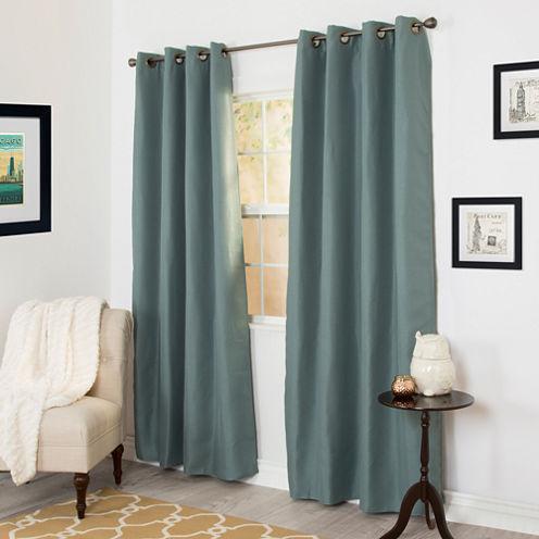 Cambridge Home Linen Look Blackout Grommet-Top Curtain Panel
