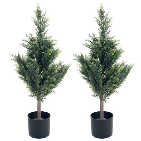 "34"" Faux-Cedar Tree Set of 2"