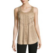 Worthington® Sleeveless Faux-Suede Burnout  Top
