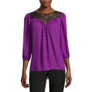 Worthington® Long-Sleeve Boho Lace-Inset Blouse