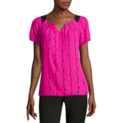 Worthington® Cap-Sleeve Pleated Blouse - Tall