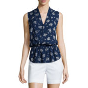 Liz Claiborne® Sleeveless Wrapped Peplum Top