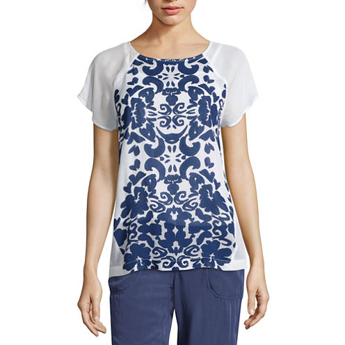 Liz Claiborne® Short-Sleeve Printed Raglan Tee  - Tall
