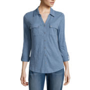 Liz Claiborne® Long-Sleeve Button-Front Shirt