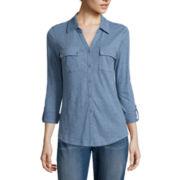 Liz Claiborne® Long-Sleeve Button-Front Shirt