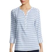St. John's Bay® 3/4 Sleeve Gauze Popover Shirt