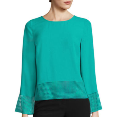 jcpenney.com | Worthington® Long-Sleeve Laser-Cut Blouse - Tall