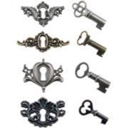 Tim Holtz® Metal Locket Keys & Keyholes – Antique Nickel, Brass & Copper