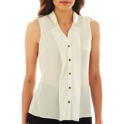 Worthington® Sleeveless Double Ruffle-Front Top - Petite